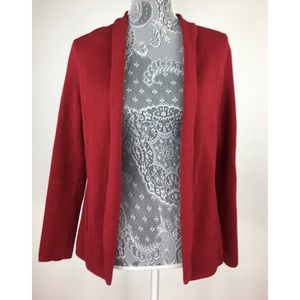 Talbots Petite S Red Open Front Cardigan Cotton